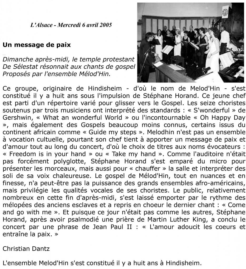 2005-04-03 Concert Selestat Article LAlsace