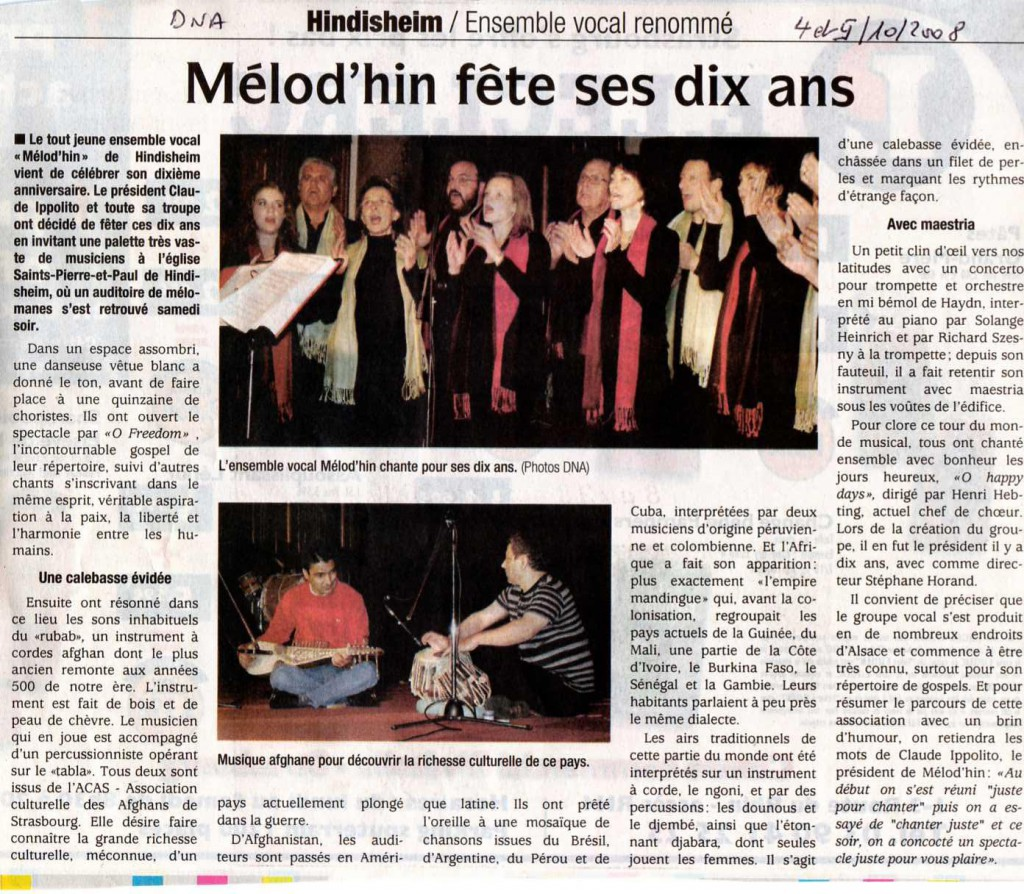2008-10-04 Concert 10 ans Hindisheim (Article DNA)