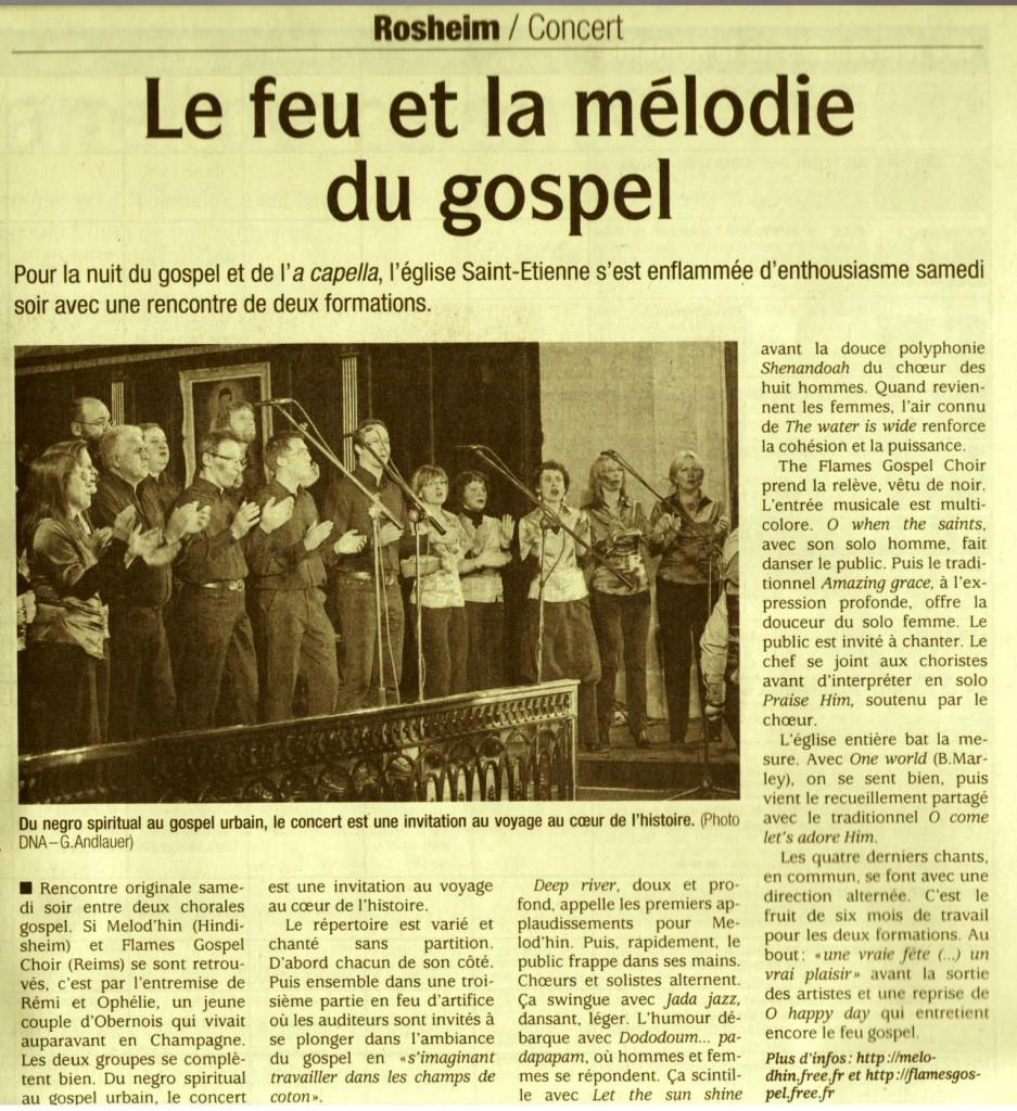 2010-10-18 Concert Rosheim avec Flames (Article DNA)