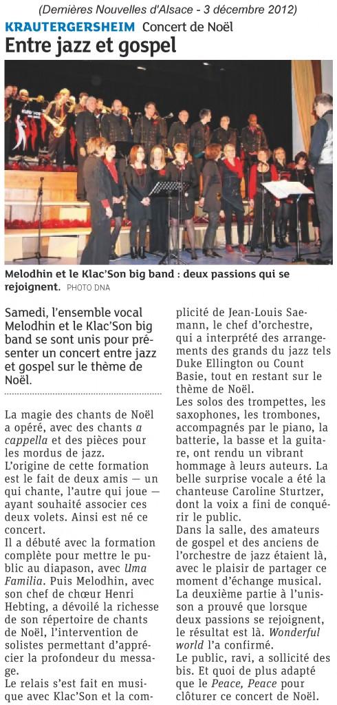 2012-12-02 Concert avec Klac'son à Krautergersheim (Article DNA)