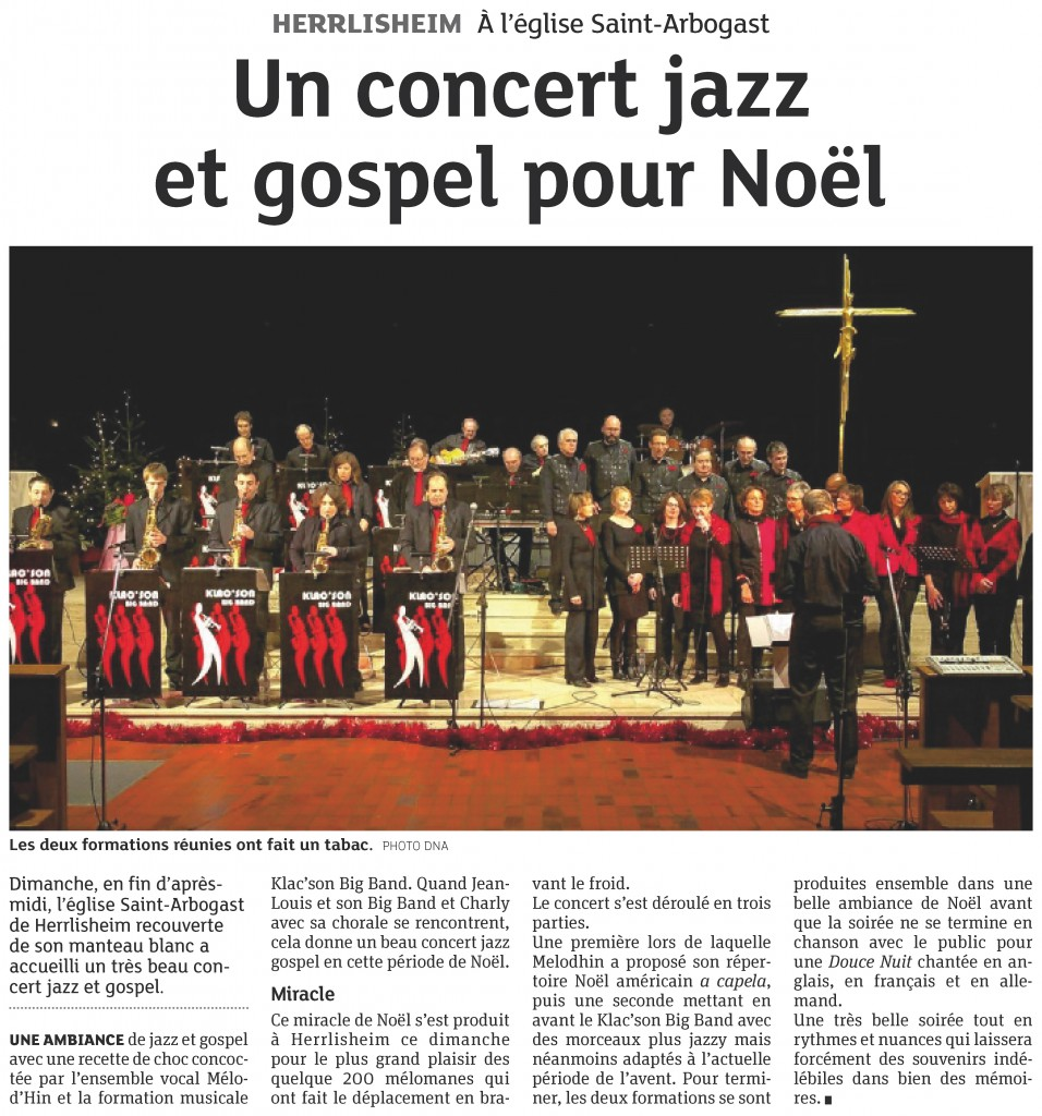 2012-12-14 Herrlisheim - Un concert jazz et gospel pour Noël (Article DNA)