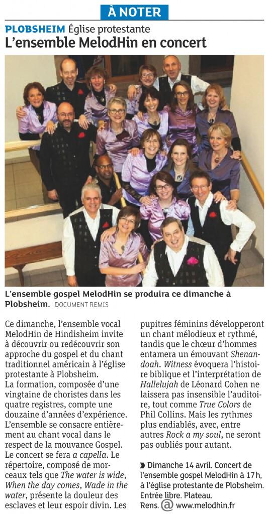 2013-04-11 Annonce du concert à Plobsheim (Article DNA)