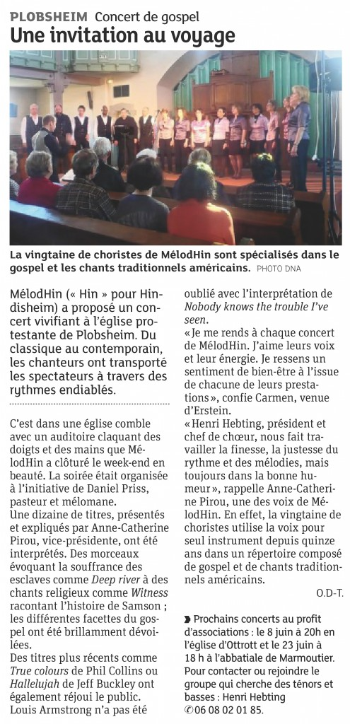 2013-04-16 Concert à Plobsheim (Article DNA)
