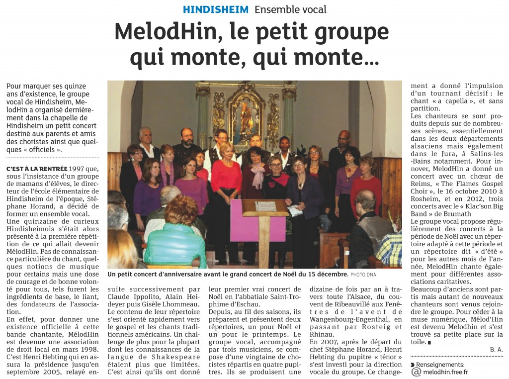 2013-10-25 Melodhin, le petit groupe qui monte, qui monte... (Article DNA)