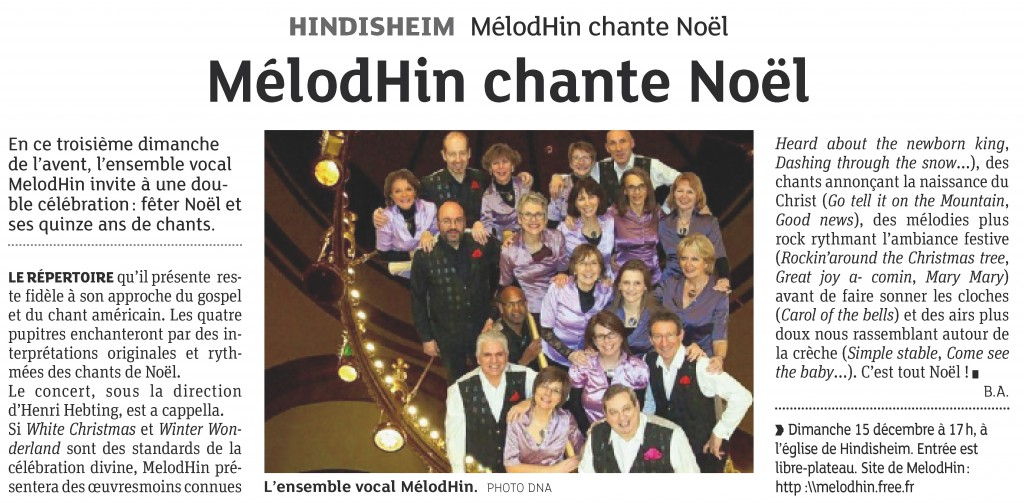 2013-12-13 Hindisheim - MélodHin chante Noël (Article DNA)