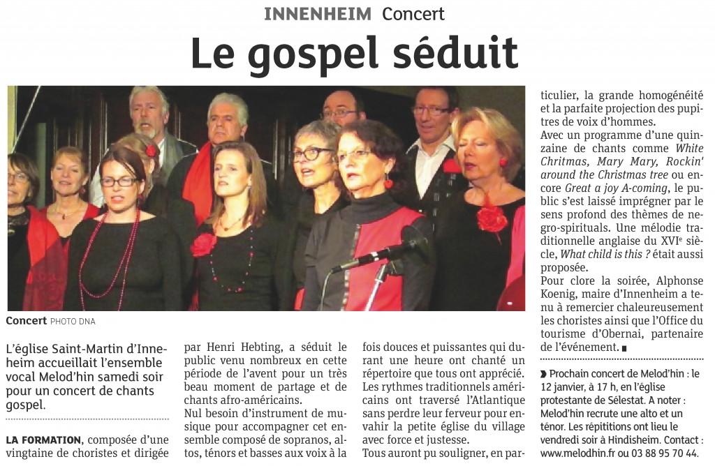 2013-12-23 Innenheim - Le gospel séduit (Article DNA)