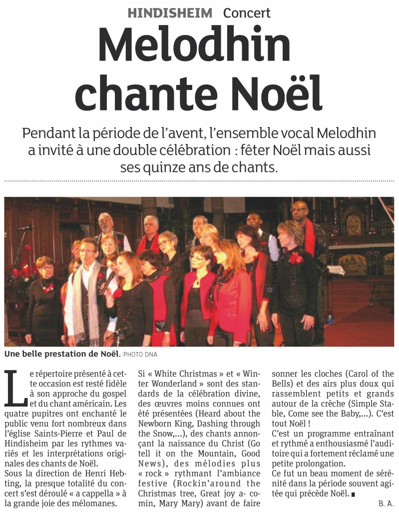 2013-12-25 Hindisheim - MélodHin chante Noël (Article DNA)
