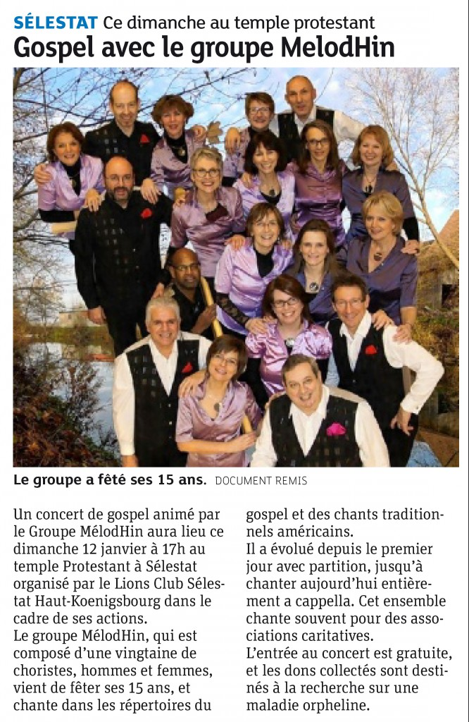 2014-01-08 Sélestat - Gospel avec le groupe MelodHin (Article DNA)