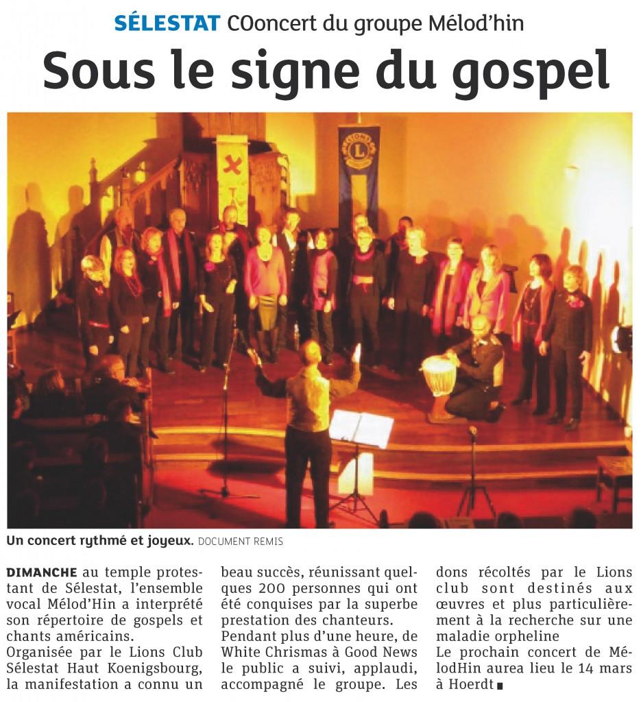 2014-01-19 Sélestat - Concert du groupe Mélod'Hin - Sous le signe du gospel (Article DNA)