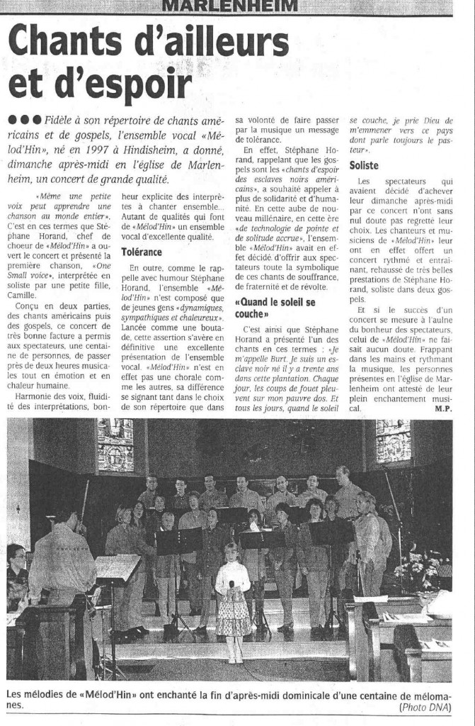 2000-03-26 Concert Marlenheim (Article DNA)